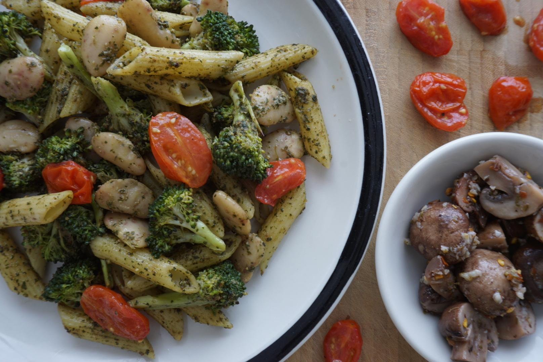 Broccoli Pesto Pasta with Beans