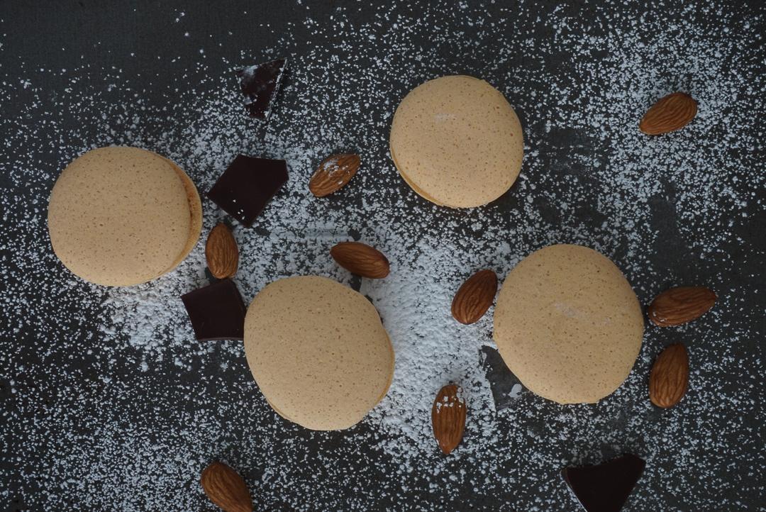 vegan macarons almond chocolate with coconut milk and aquafaba