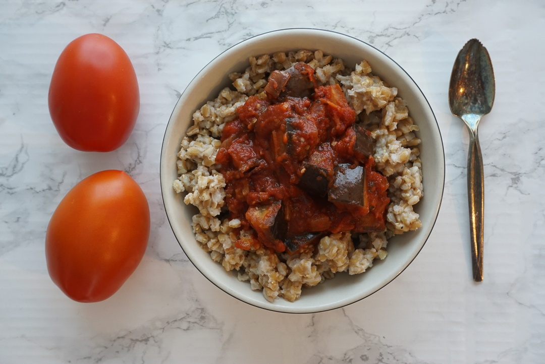vegan Italian bowl with chickpea eggplant and farro