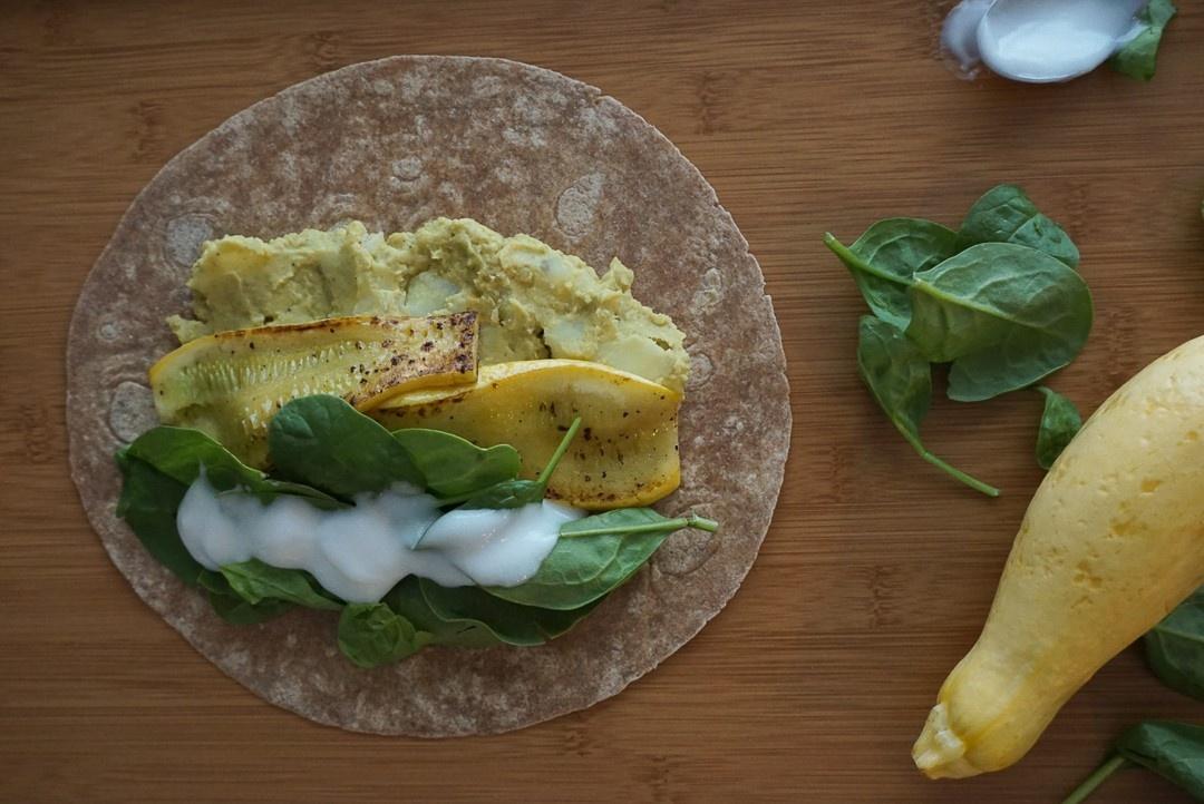 vegan lentil curry wrap