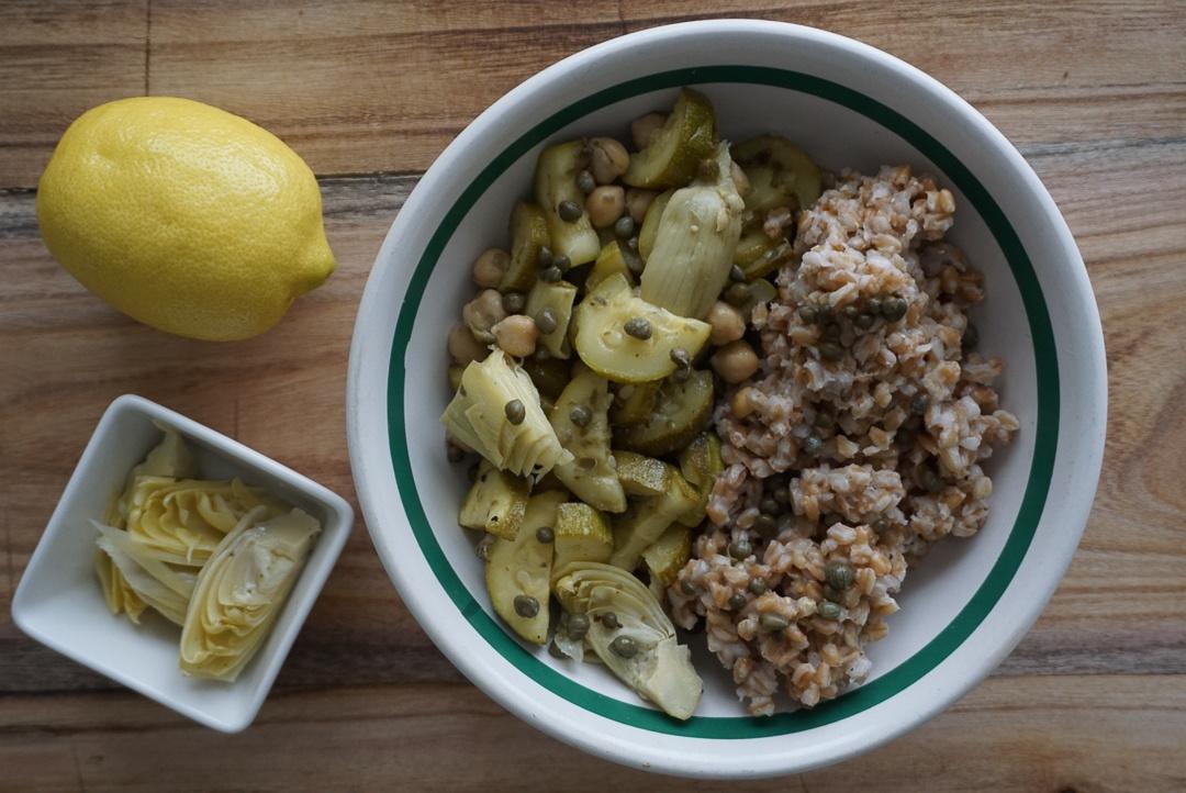 meditteranean farro artichoke bowl vegan