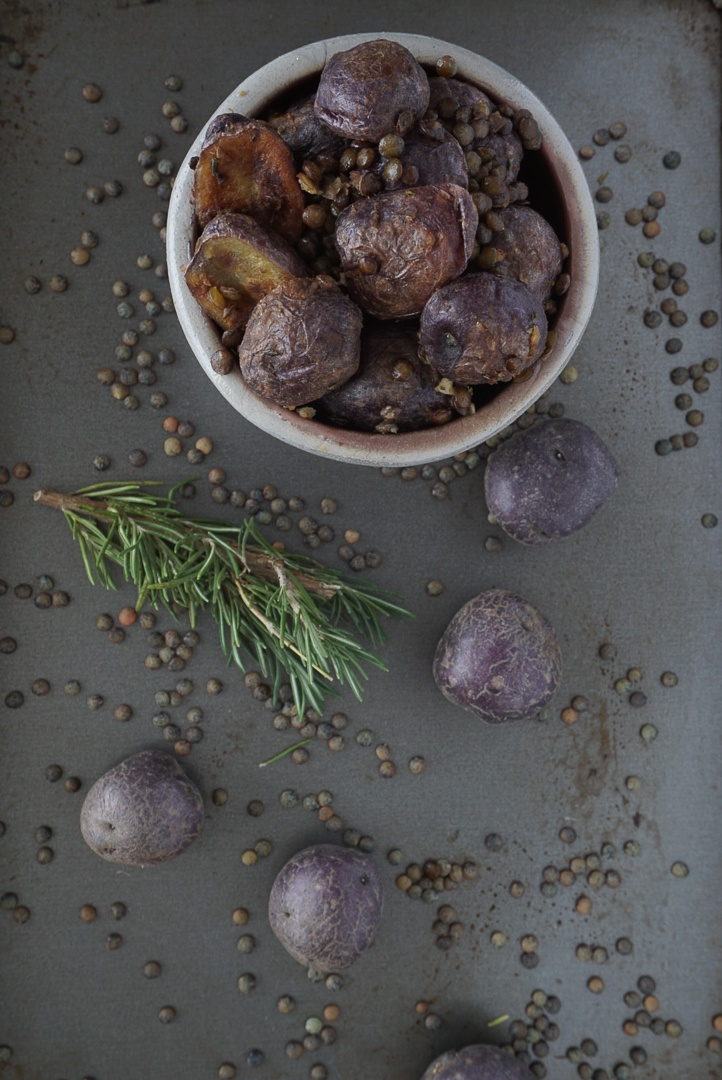 potato and lentil salad with lemon and rosemary