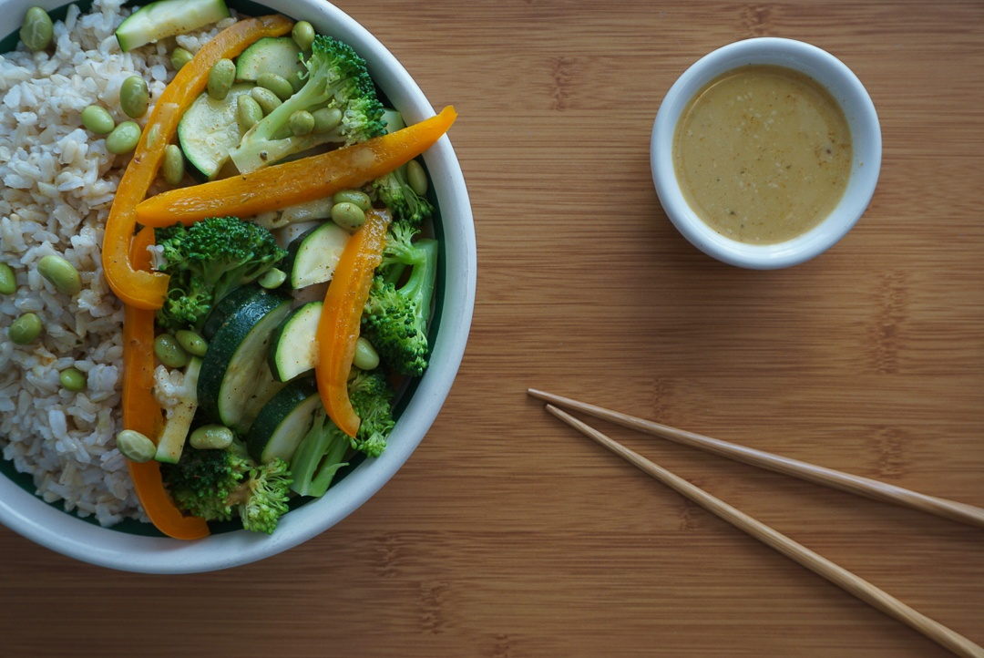 edamame broccoli vegetable red curry
