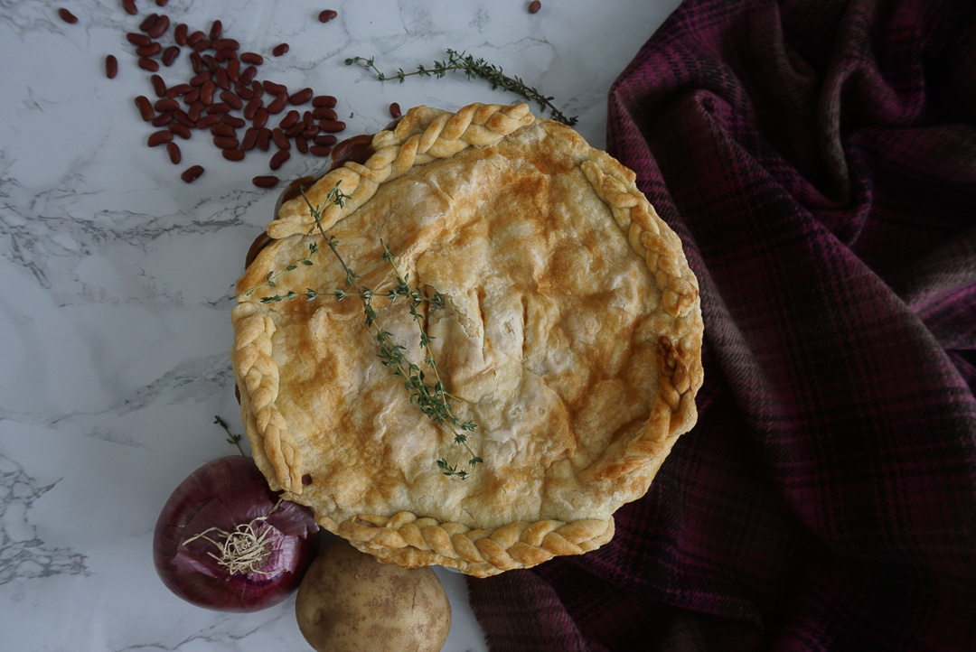 kidney bean pie with potatoes onions and carrots