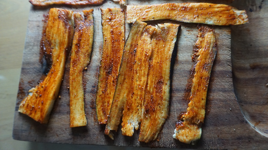 eggplant bacon before frying