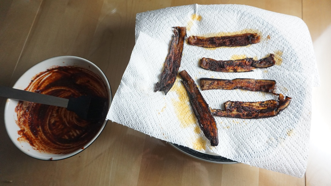 eggplant bacon after pan frying