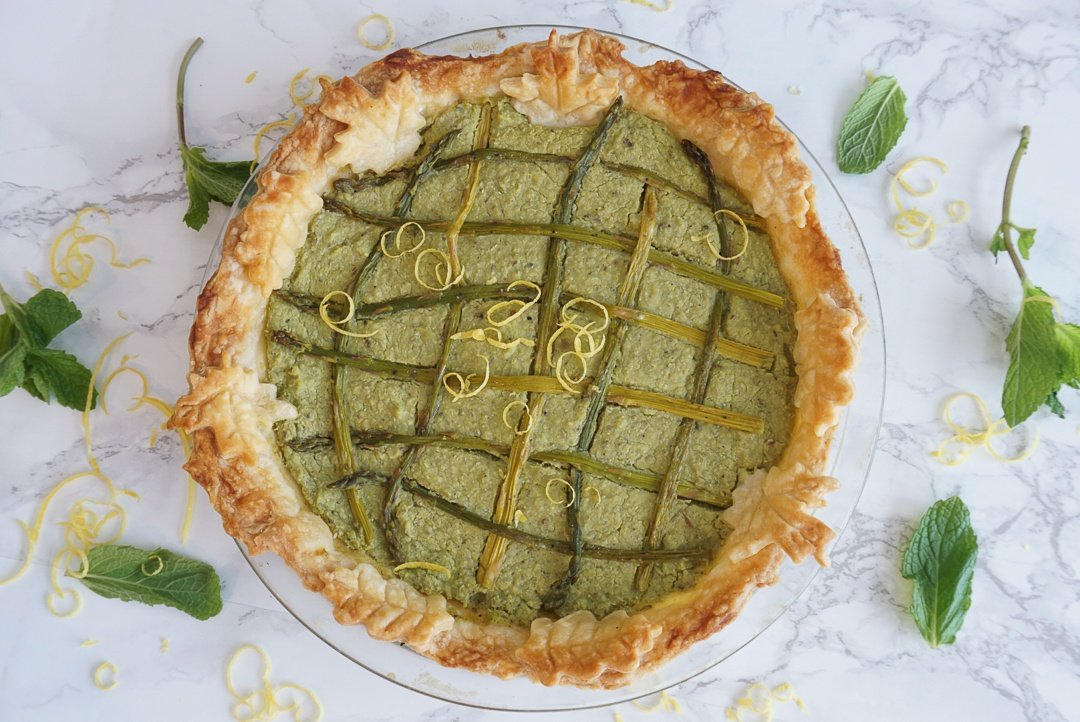 spring pea tart with leaf patterned crust