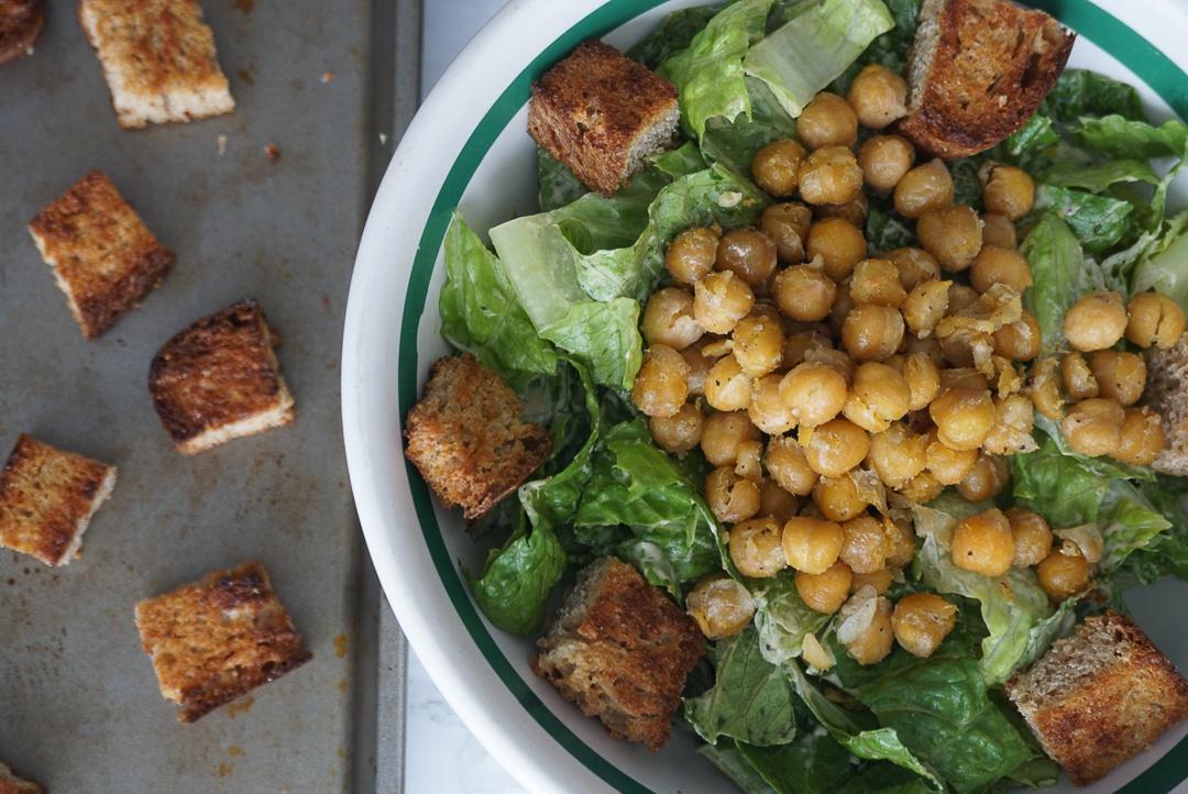 vegan chickpea caesar salad