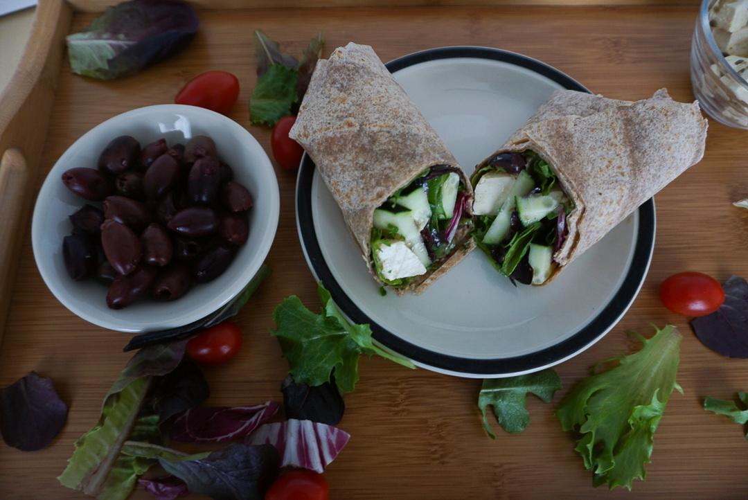 vegan greek salad wrap