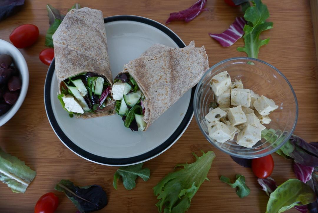 greek salad wrap with tofu feta
