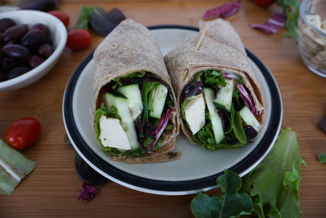 tofu feta vegan greek salad wrap